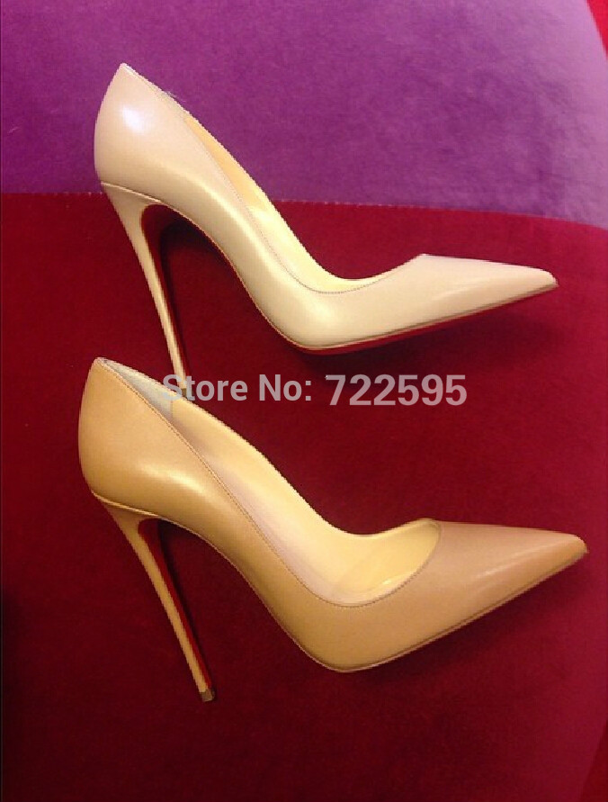 Top Quality Free shipping nude matte pumps lambskin leather red color bottoms 120mm straight thin high heel sexy prom pumps(China (Mainland))