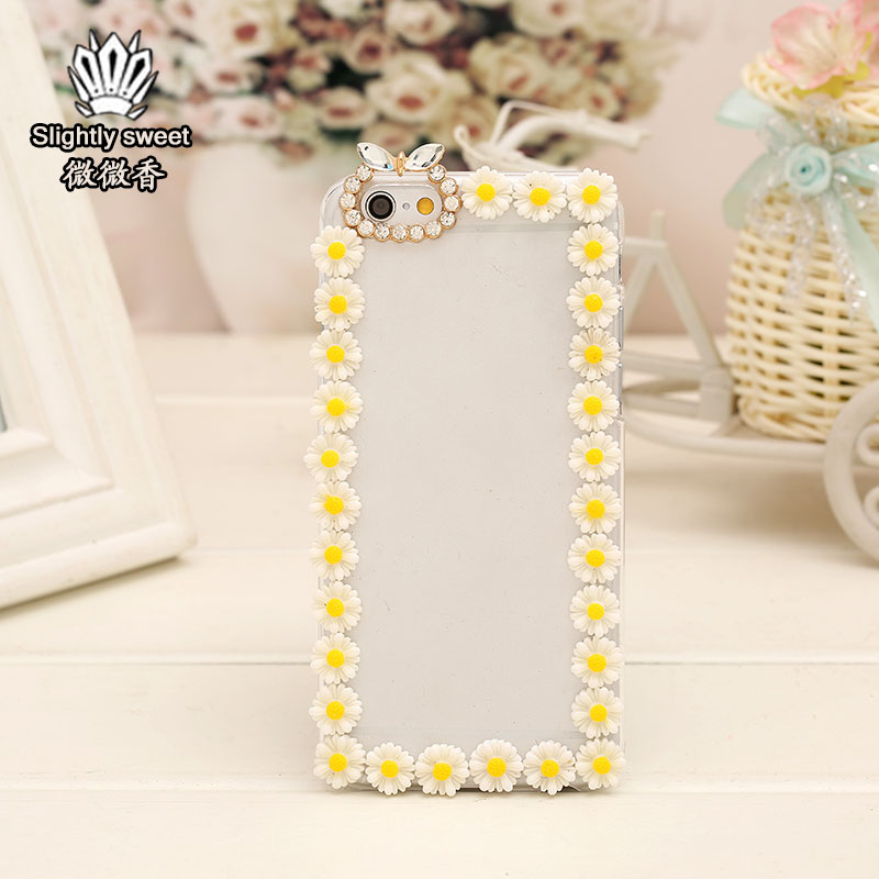 2015 New fashion Rhinestone Daisy Trim Handmade Case For Iphone 6 And Case For Iphone 6 Plus Mobile Phone Bag Cover(China (Mainland))