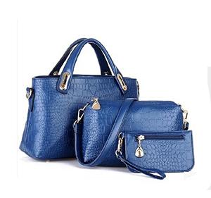 2015 New 3 PCS Set Crocodile Handbag Leather Women Handbags Shoulder Bags Crocodile Women Messenger Bags