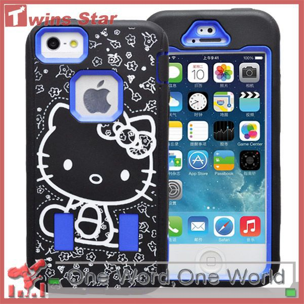 100pcs/lot Hot Sale Nice Looking Hello Kitty Design Combo 2 in 1 Rubber Case for iPhone 5 5G 5S Fast Free Shipping(China (Mainland))
