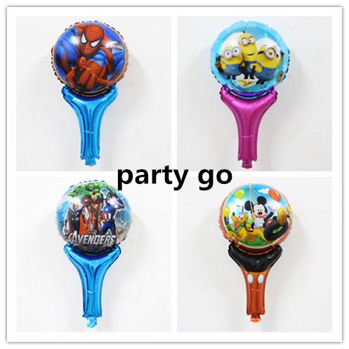 Hot 20pcs/lot Spiderman/ Minions/mickey/Avenger foil Helium Holding Sticks Balloon Party Decoration Balloons Baby boy Toys<br><br>Aliexpress