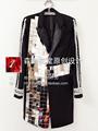 Men s new fashion singer DJ GD night club bar Mirror heavy manual palace long suit