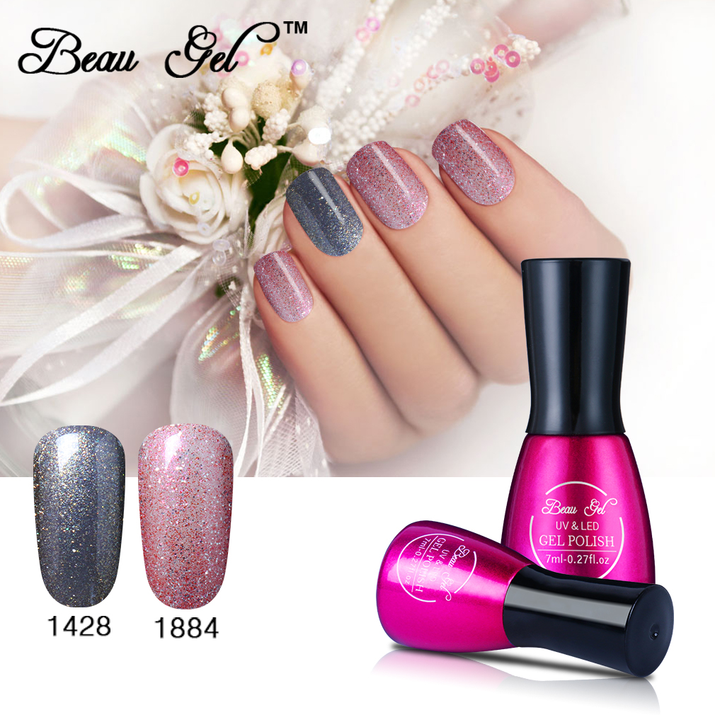 Beau Gel 2 pieces/lot Bling Color UV Gel Nail Polish Set Gel Varnish Soak Off Gel Polish Unhas De Profissional Vernis a Ongle(China (Mainland))