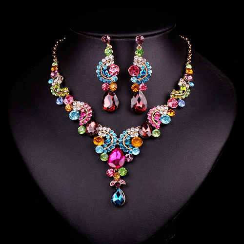 Fashion Sapphire Rhinestone Bridal Jewelry Set Wedding Prom Party Accessories Gold Plated Necklace Earring Set For