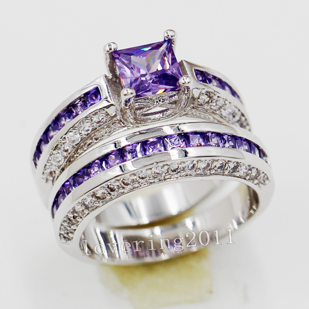 white amethyst rings diamond purple ring and gold engagement pear