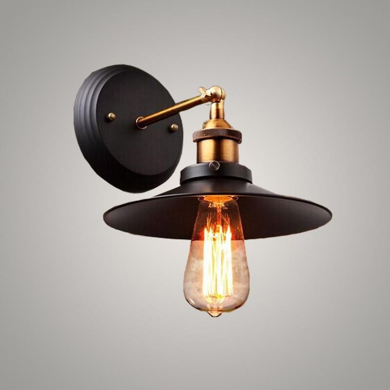 Купить Бесплатная доставка ретро настенный светильник черный клетка лампы Старинные медные Эдисон зонтик железа скобки спальня фойе настенный светильник