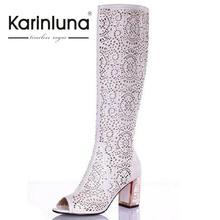 KarinLuna Knee High Summer Boots Women Sexy Fashion Sandals Cutouts Blue White Black Gladiator Boots Open Toe Rhinestones Shoes(China (Mainland))