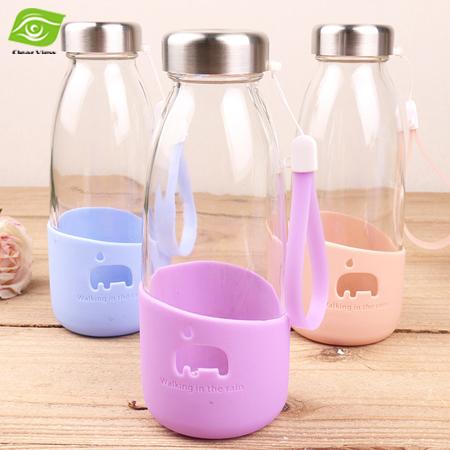 1PC Lovely Cartoon Elephant Glass Milk Bottles 350ML Silicone Case Sports Water Bottle Portable Travel Mug(China (Mainland))