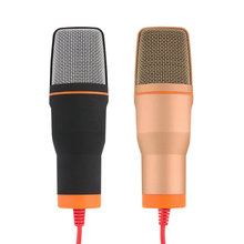 HUSOAR High Quality Wired Stereo Condenser Microphone with Holder Clip for Chatting Singing Karaoke PC Laptop SF-666