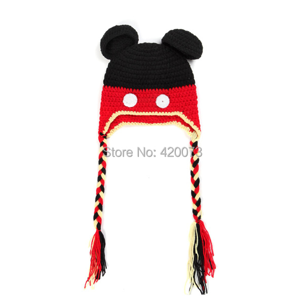Free Shipping Handmade Baby Crochet Winter Hat,Fashion Knitted Minnie Design Hats For Newborn,Infant Cute Photo Prop(China (Mainland))