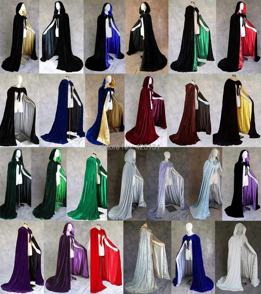 Royal Wedding Gothic Purple Red Green Black Blue Gold Ivory Velvet Cloak Cape Wicca Party vinly clothing Lined Cloak Cape SCA(China (Mainland))