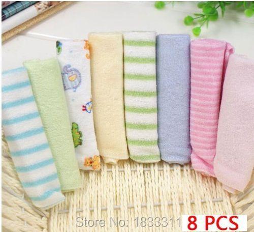 8 PCS Kit Soft Newborn Baby Washcloth Children Bath Towels for Bathing Feeding(China (Mainland))