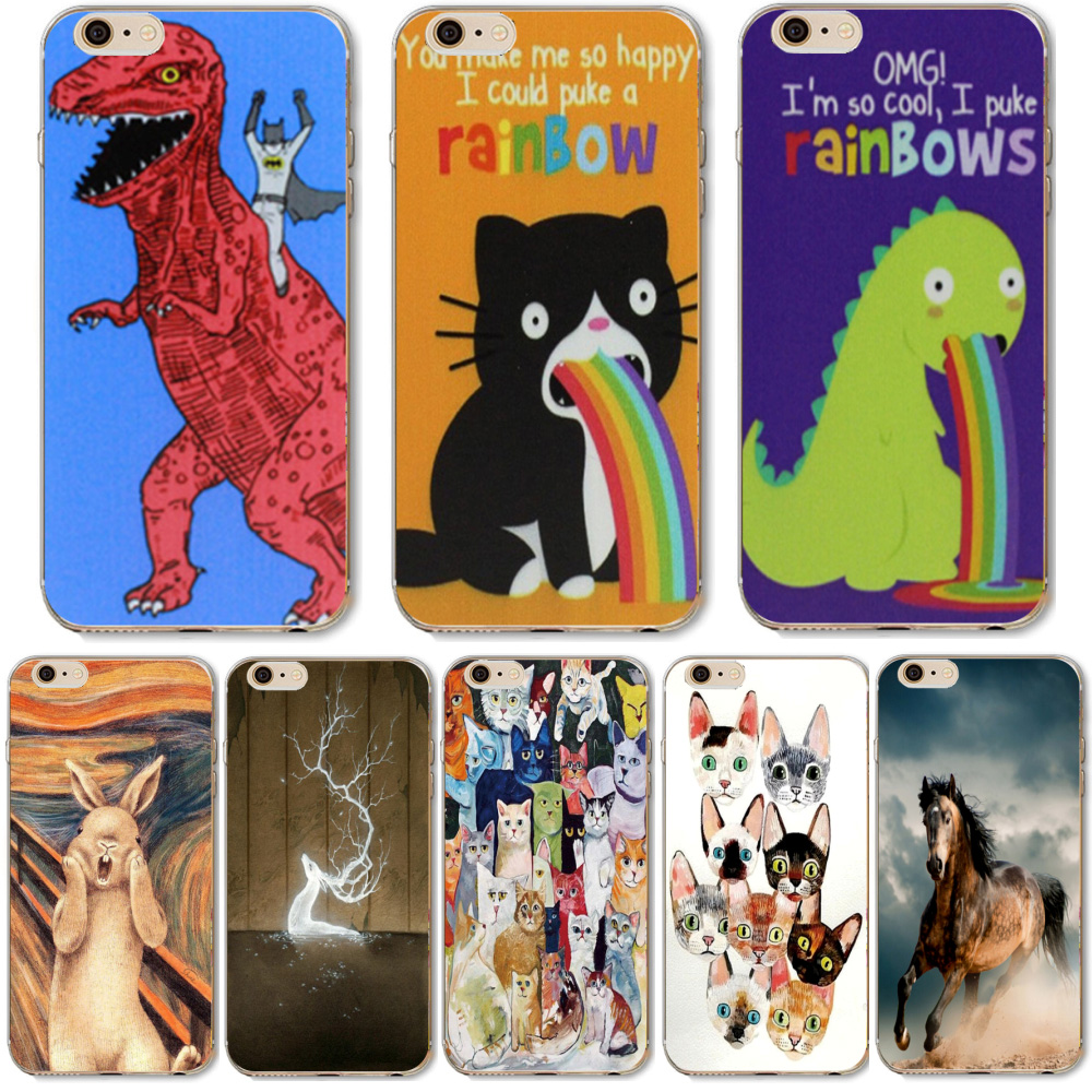 Cute Cartoon Animals Dinosaur Rabbit Soft TPU Cases iphone 6 6S 7 Samsung Galaxy A3 A5 2016 Xiaomi Redmi Hongmi 3S Cover