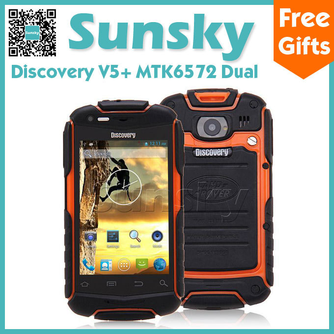 Waterproof Dustproof Shockproof Android 4.2 Discovery V5+ Smart Phone MTK6572 Cortex A7 Dual Core 1.2GHz Dual Core 3G WiFi(China (Mainland))