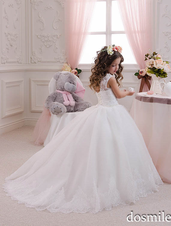 2016 white ivory princess lace beading ball gown flower for Wedding party dresses for girl