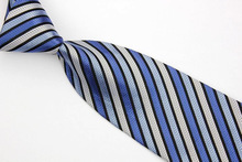 NT0586 Blue Gray Strpe New Classic Silk Polyester Man s Jacquard Woven Necktie Business Casual Knitting
