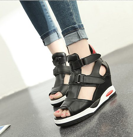 F9732 Hot 2015 Size 35-39 Women Fashion Rome Style Platform Wedges Buckle Cover Heel Sandals Lady T Show Sandals<br><br>Aliexpress