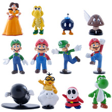 12pcs/set Super Mario Action Figure Game Characters Colllection Minifigures Christmas Gift For Kids S20
