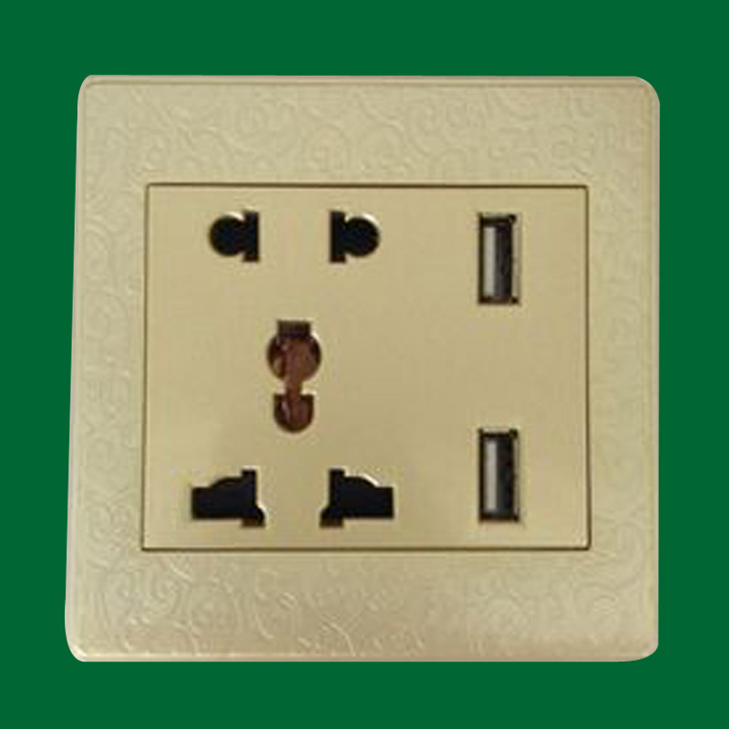 Wholesale production switch socket 5 hole with double USB charging electronics wall socket work two or three more general Russia(China (Mainland))