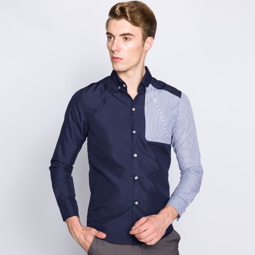 2015 new brand men striped shirts long sleeve turn down for Mens fitted long sleeve dress shirts
