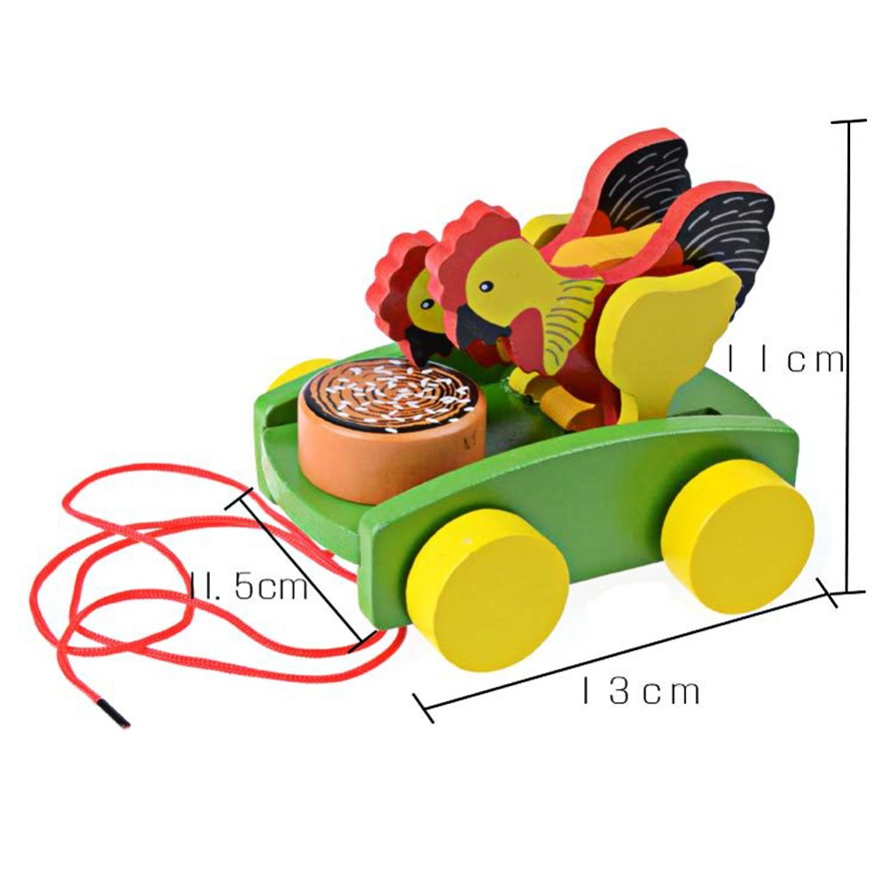 Wooden Cock Pecking Rice Toy Mini Trailer Car Lovely Animal Cock Pull Car  Early Educational Toddler Learning Walk Guide Toy - us663