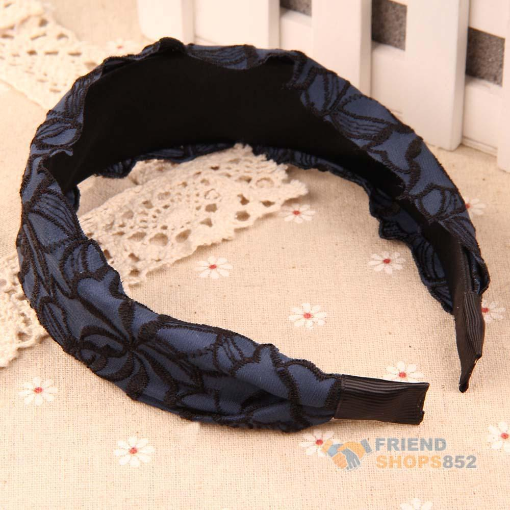 Korean Style Navy Fabric Rose Embroidery Lace Wide Headband Hair Accessory WLDE(China (Mainland))