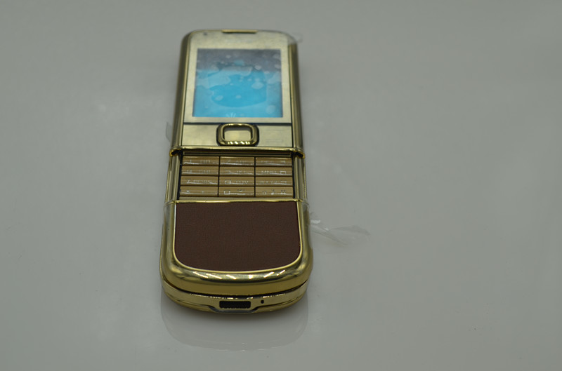Hot Luxury New Gold Plated Housing Battery Cover with Brown Leather For Nokia 8800 arte gold housing(China (Mainland))