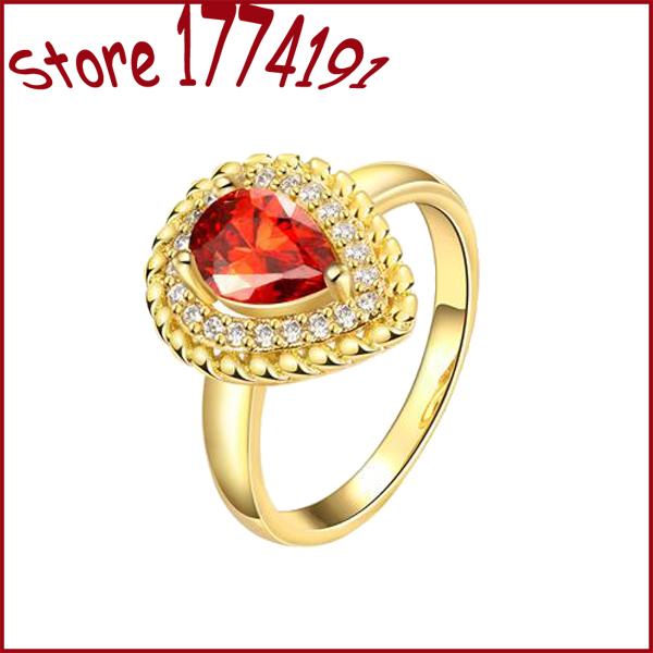Wholesale Rose Goldtone ring tear shaped signet ring for women pretty cute Fashion party jewelry Gold Plated Ring For Women R143(China (Mainland))