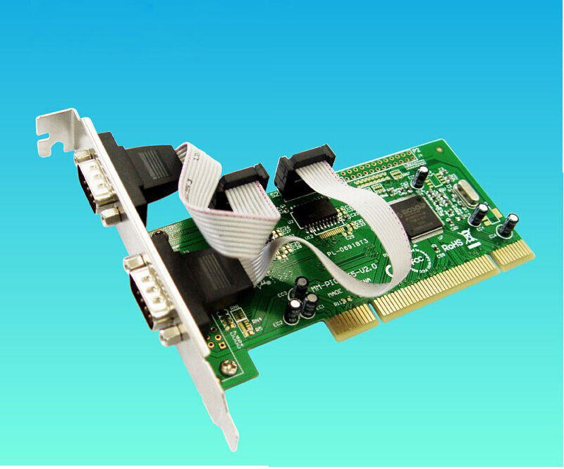 New Stock 2 Ports DB-9 Serial (RS-232 COM) PCI Controller Card Support Low Profile Bracket(China (Mainland))