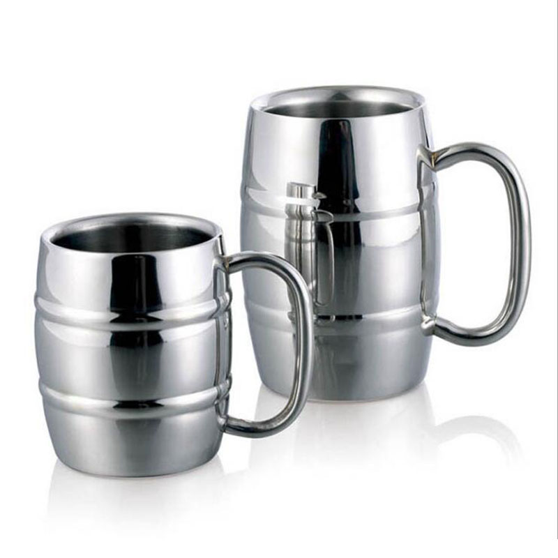 Creative Novelty Bamboo Joint Double Wall Stainless Steel Milk Beer Water Cup 300 -430ml Coffee Tea Tumbler Wine Mug with Handle(China (Mainland))