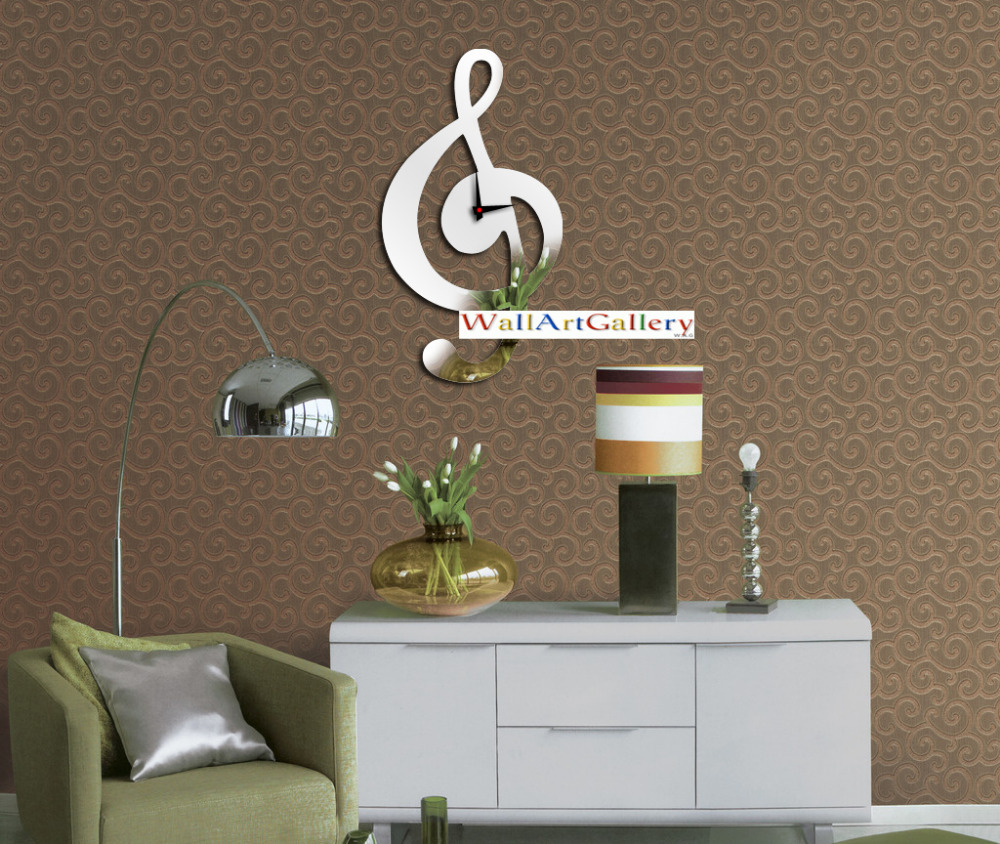 Wall Decoration Living Room Home Decorations Musical Note Mirrored