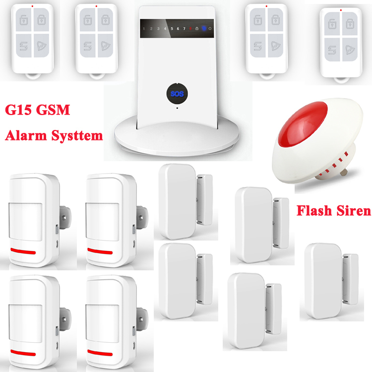 G15 Wireless GSM Slim Pad Style Home Alarm Systemm Android iPhone APP Control with Wireless Flash Strobe Siren Red Light P532(China (Mainland))