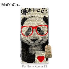 Plastic PC Cell Phone Panda coffee break art poster mug of coffee For case Sony Xperia z3(China (Mainland))