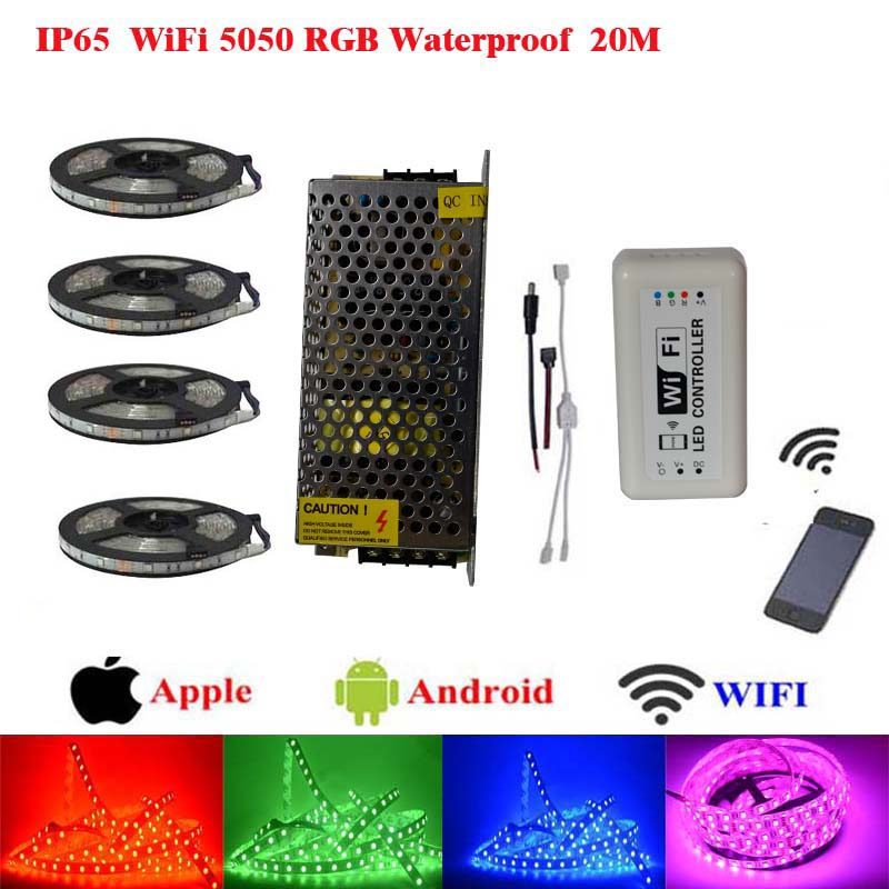 10m 20m 15m rgb led strip 5050 waterproof Flexible christmas Led Strip lighting WiFi Music Controller iOS iPhone Android Phone(China (Mainland))