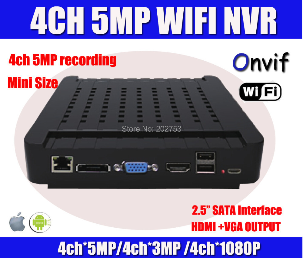 5MP / 3MP / 1080P 4Ch HDMI NVR HD Mini NVR Network Video Recorder Security For IP Cam System WIFI PC&Phone View P2P Cloud(China (Mainland))