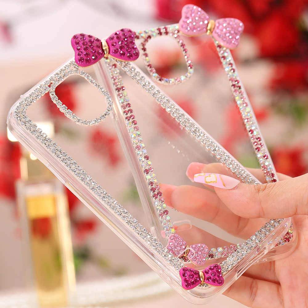 Cute 3D Bow Slim Bling Case For Samsung Galaxy Note 4 N9100 Fashion Crystal Clear Shiny Diamond Hard Cover For Note4 Top Quality(China (Mainland))