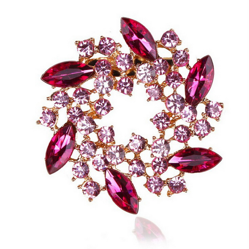 Factory Direct Sale Color Crystal Rhinestone Bauhinia Flower Fashion Brooches in 5 assorted color FREE SHIPPING(China (Mainland))