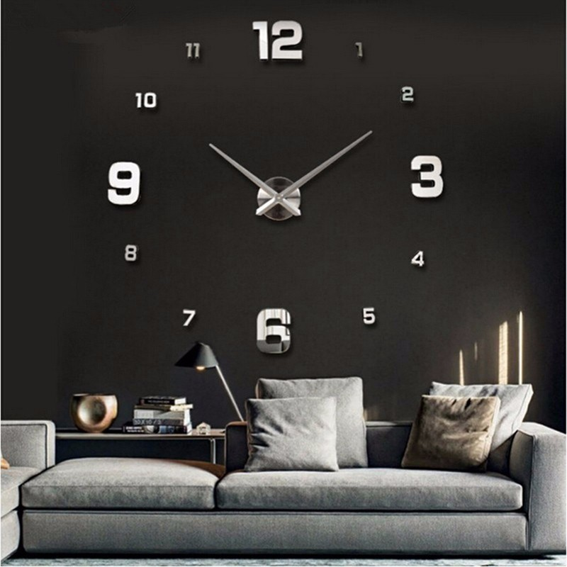 Luxury DIY Large Wall Clock 3D Mirror Surface Sticker Home Room Decoration Hot