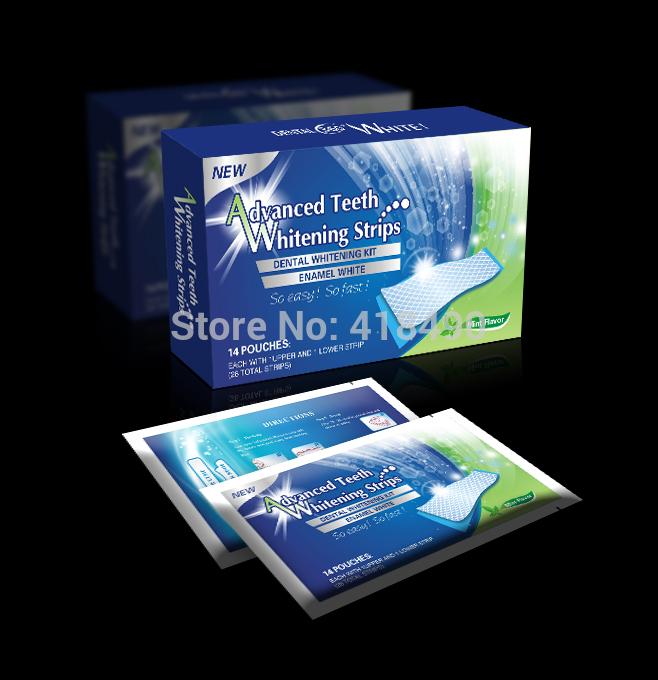 Drop Shipping Teeth Whitening Strips Professional Double Dental Kit White Teeth Strips Tooth Bleaching Gel 28pcs/Box(China (Mainland))