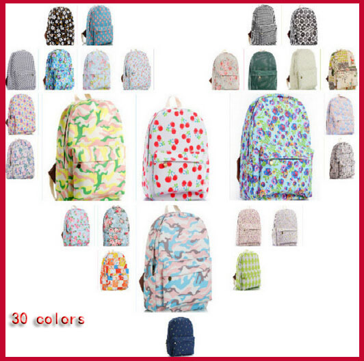 2015 Lovely printing women backpack girl cartoon shoulder bags canvas flower school backpack 30 colors<br><br>Aliexpress