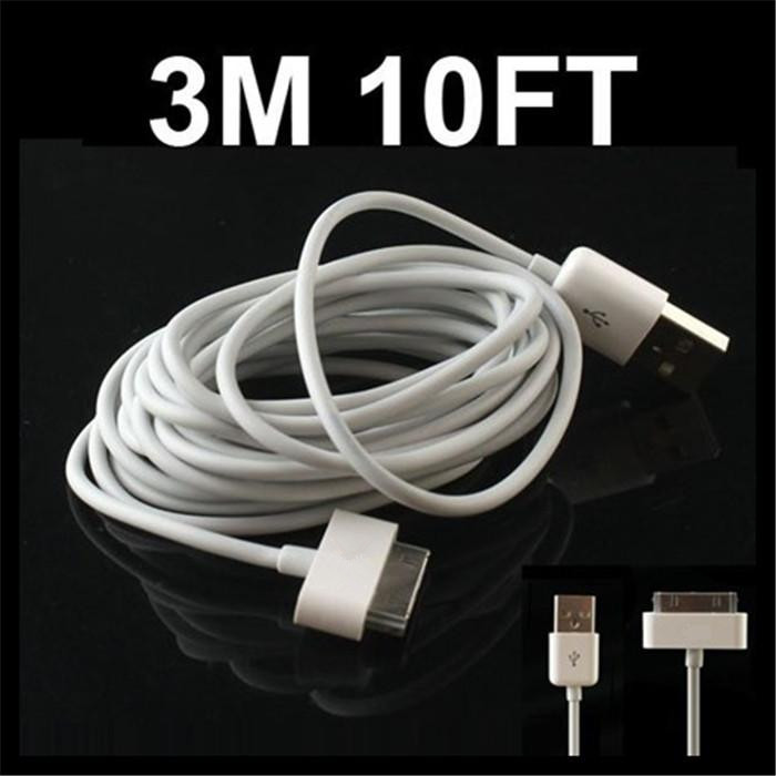 Free Shipping 3M LONG USB Sync Charger Cable for iPad usb Cable for iPod usb Charger for iPhone 4S/4 usb Cable for 3GS 2pcs(China (Mainland))
