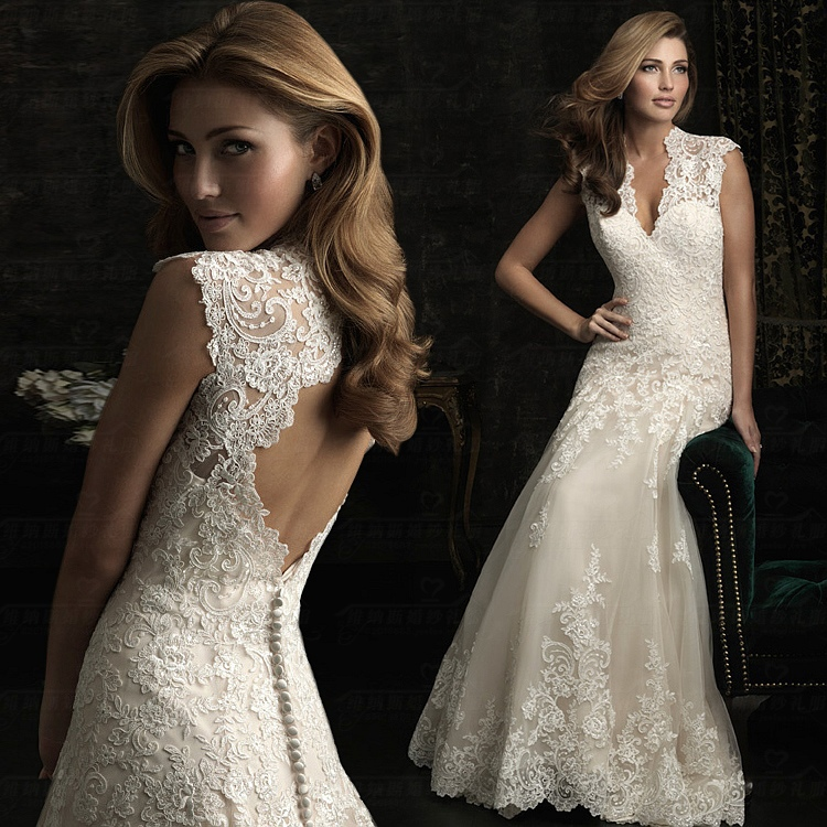 Lace Wedding Gown Keyhole Back Floor Length Dress In Dresses