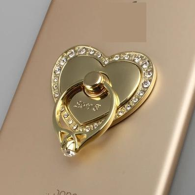 Hot Sale Universal 360 Degree Rotating Heart Shape Cell Phone Diamond Finger Ring Stand Holder for All phone cell Free Shipping(China (Mainland))