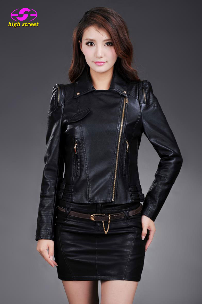 2015 Female short  motorcycle pu leather jackets Korean Slim women turn down collar zipper shrug batch Fashion CoatОдежда и ак�е��уары<br><br><br>Aliexpress