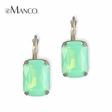 คริสตัลโอปอลสีเขียวขนาดเล็กวางต่างหูสำหรับผู้หญิงชุบทองทองแดงห้อยชี้แจงต่างหูb oucle d' oreilleอินเทรนด์eManco