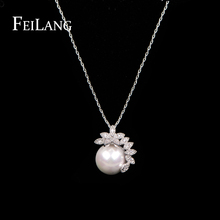 Feilang 2015 White Gold Plated Fashion Women Chain AAA Zircon Stone Pearl Necklace For Party FSNP049(China (Mainland))