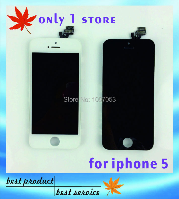20 pcs/lot good quality LCD Touch Screen + Display Digitizer Assembly Replacement For iPhone 5 5G Black & White(China (Mainland))