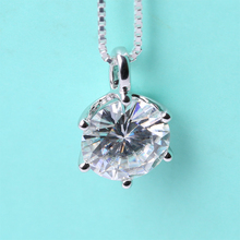 Solid 18K 750 White Gold Beautiful 1.5 Carat ct F Color Lab Grown Moissanite Diamond Pendant Necklace(China (Mainland))