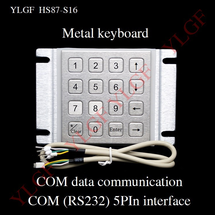 Metal keyboard Up, down, left, right YLGF HS87-S16-C5 COM (RS232) 5-pin terminal waterproof (IP65), dust, anti violence(China (Mainland))