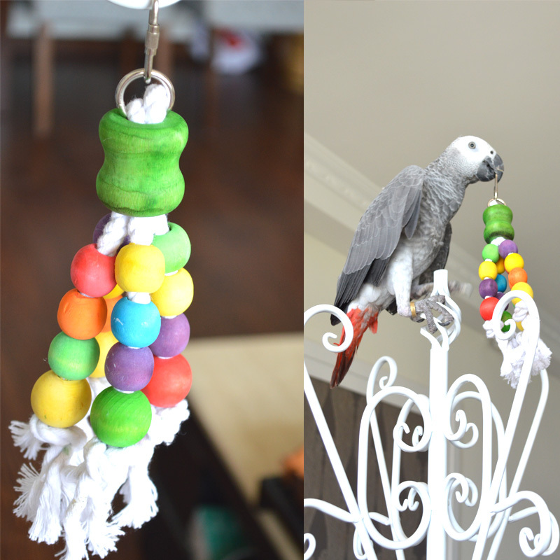 Small Toy Parrots : Parrot bird toys swing wood chew rope fun for small